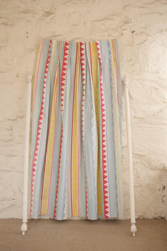 "Marimekko Style Curtain Sets Modern Red, Yellow, Blue, Green 60"" Long"