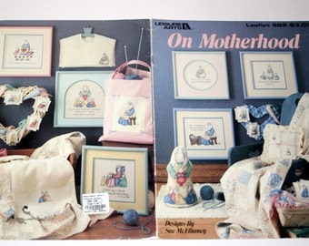Counted Cross Stitch Leisure Arts Leaflet On Motherhood Sue McElhaney