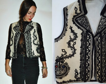 1930s / 1940s Embroidered Soutache Romanian Traditional Folk Vest