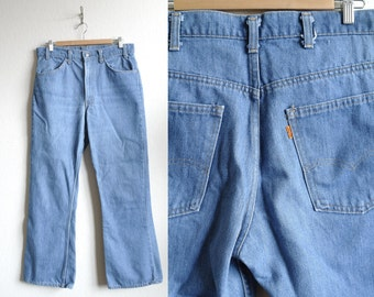 Vintage Orange Tab Levis - 1970s Levis Denim Jeans - Mens Jeans - Mens Denim - 70s Style - Classic Blue Wash - 33x30