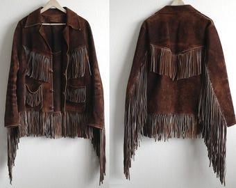 Vintage Fringe Suede Jacket, 1970s Suede Leather Jacket, Chestnut Brown, Mens Jacket, Womens Jacket, Long Fringe