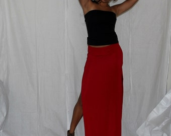 Red Side Slit Maxi Skirt