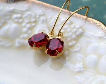 Elegant Earrings, Ruby Red Drop Earrings, Dark Red Bead Jewelry, Vintage Glass Earrings, Gold Vermeil Earrings, UK, Mothers Day Gift for Her