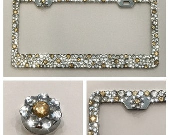 Clear/Gold Bling Rhinestone Crystal License Plate Frame - Super SPARKLY & SHINY