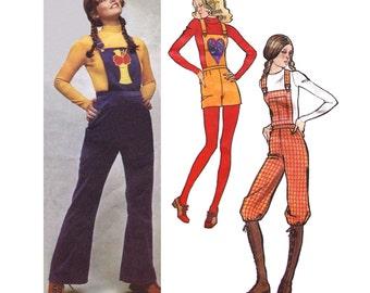 "1971 Bibbed Romper, Overalls or Knickers, Suspenders (Braces), Bib Applique or Pocket, Simplicity 9573, 9 Jr Petite, Waist 24 1/2"", Hips 34"""