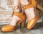 DANCE QUEEN. Leather shoes / leather heel shoes  / women dance shoes / high heels / boho. Sizes 35-43. Available in different leather colors