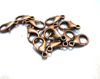 1 Dozen Copper Tone Lobster Claw Clasps - Necklace Clasp - Bracelet Clasps 14MM