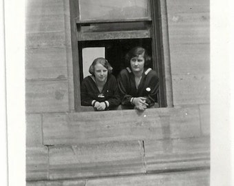 Old Photo 2 Teen Girls Looking out a Window 1920s Photograph Snapshot vintage