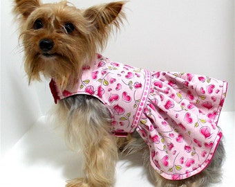 Pink Hearts Dog Dress, XS and Small, Tiny Roses and hearts pattern, dress for dogs, Designer Fashion dog clothes