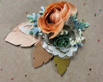 Rustic Flower Leather Hair Clip // Boho Peach and Wintermint Hair Clip // Ready to Ship