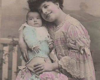 Edwardian Mother With A Cute Baby Original Antique Photo Postcard