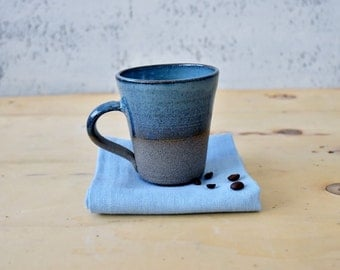 Turquoise Pottery mug, Ceramic Tea Mug, Tall Ceramic Mugs, Large pottery mug, coffee mug, Stoneware coffee mug, Father's Gift, Ready To Ship