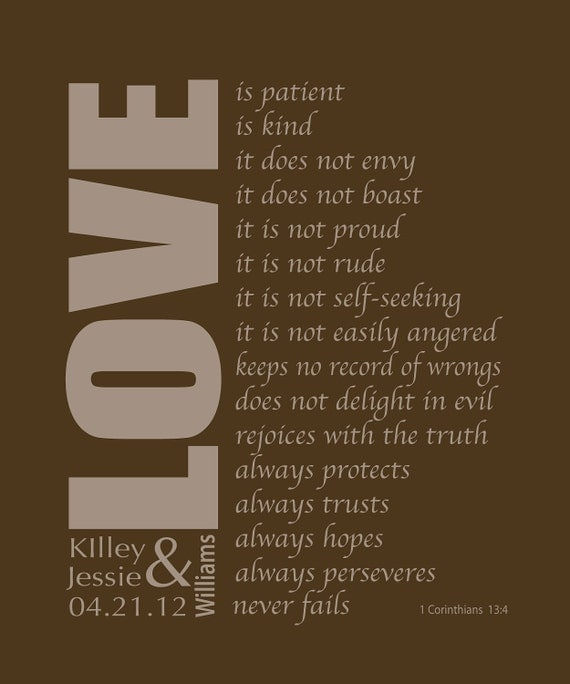 Corinthians Bible Verse, Love is Patient, personalized wedding gift for the newlyweds, Valentine's Day gift