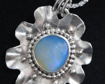 7.5 Carat Lightning Ridge High End Crystal Opal Set in Hand-Crafted Sterling Silver Flower Pendant