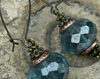 Blue steampunk earrings, blue dangle earrings,Victorian style drop, Czech glass dangle, blue & copper earrings, UK jewellery, steampunk gift