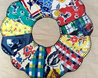 Dresden Plate Quilt Block, Hand Stitched, 1940s or 50s, Ten Total, Selling Individually
