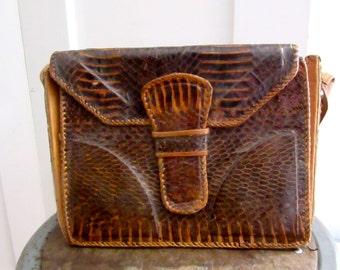 Alligator Bag - Purse - Vintage Hand Made - Shoulder Bag - 40s - 50s