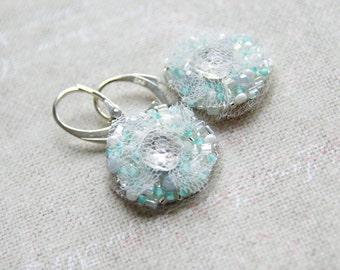 White Mint Embroidered Earrings - Silver Dangle Earrings - Bridal Wedding Gift - Petite Drops