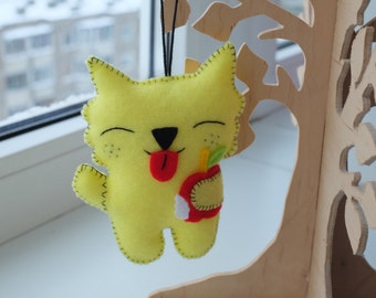 Funny kitten handmade felt plush doll or ornament