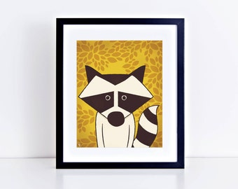 Racoon Giclee Print 8 x 10 inches