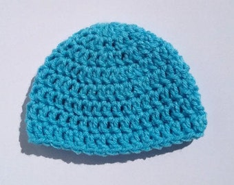 Blue Baby Hat, Crochet Baby Beanie, Select A Size