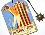 Mini Bookmark with Bronze Pendant - Tati - Monsieur Hulot - Vintage French  Movie Poster - Handmade