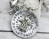 16th Birthday Gift - Gift for Daughter - First Car Keychain - Sweet Sixteen Gift - Guardian Angel Keychain - Hand Stamped Keychain