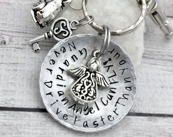 16th Birthday Gift - First Car Keychain - Sweet Sixteen Gift - Guardian Angel Keychain - Hand Stamped Keychain - Guardian Angel Gift