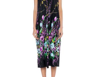 Black Dress With Purple, Blue, And Yellow Floral Print Size: 6