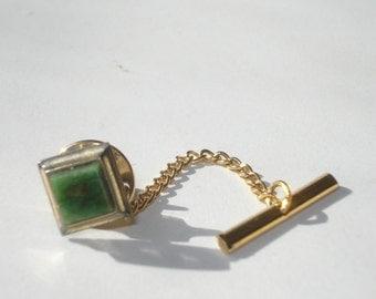 Vintage Tie Pin - Gold Tone Jade Green Stud Clip Tac - Mens Accessories 1960s