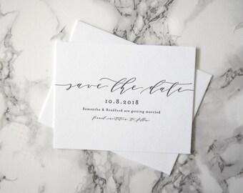 LETTERPRESS SAMPLE | Samantha Save the Date | Minimalist Invitation | Simple Invitation | Black and white invitation | Clean Invitation