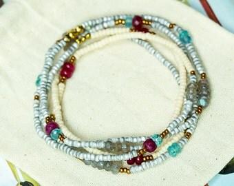 Ruby Bracelet, Wrap Bracelet, Beaded Bracelet, Apatite Bracelet, Labradorite Bracelet, Seed Bead Bracelet, Long Necklace, Boho Jewelry