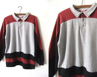 Color Block Fleece Polo Sweatshirt - Rugby Style 80s Sporty Striped Minimal Jersey Jumper - Vintage Mens Medium