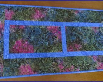 Quilted Olive Blue Batik Table Runner Quilt 492