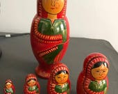 Vintage Indian Handmade Wooded Painted Nesting/Matryoshka Dolls