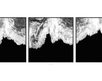 Wave Triptych - Beach waves, B&W Photographic Archival Print, Wall Decor