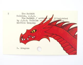 The Hobbit by J.R.R. Tolkien - Print of my painting of Smaug the dragon on library card