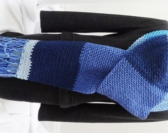 Sale 25% Off - Crochet Extra Long, Wide and Oversized Blanket Scarf in Different Shades of Blue - Stripe Wool Blend Scarf - Ready to Ship