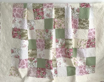 King Patchwork Quilt with Floral Fabrics Shades of Pink Green Tan Ivory Pristine Collection by Robert Kaufman
