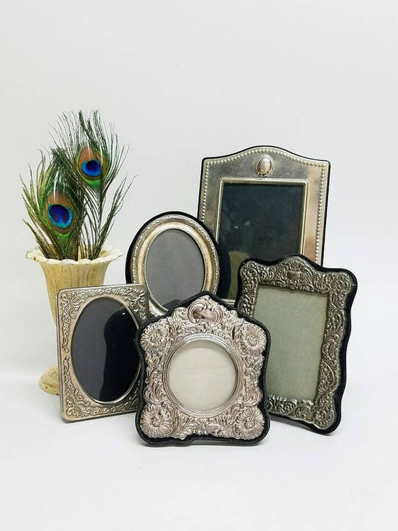 Vintage Picture Frames Ornate Set Of 5  Embossed Silver Plate Easel Stand