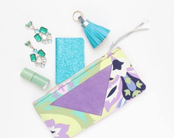 Cotton pouch-natural leather pouch-graphical fabric-purple green yellow-make up bag-cosmetic purse-brush case-multicolor pouch /FLARE 117