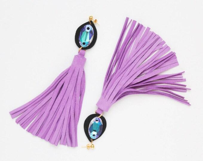 Oversized tassel earrings. Leather tassel earrings. Statement earrings. Tassel jewelry. Long tassels. Fringe earrings. Gemstones./MIRACLE 24