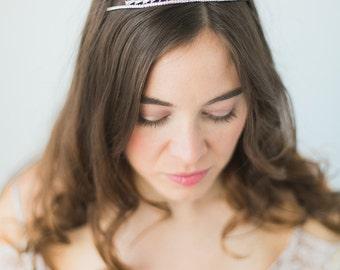 Bridal Tiara, Dainty Deco Rhinestone Crystal Tiara, Bridal Headpiece, Deco Wedding, abigail grace bridal