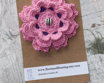 Large Crocheted Pink Flower Brooch Pin made from Bamboo Yarn, Felt & a Glass Bead - Handmade in the UK