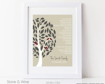 Wedding Gift for Grandparents, Grandmother, Grandfather Personalized Family Tree, Name, Birds Art Print Poem, 8x10 or 11x14 inches UNFRAMED