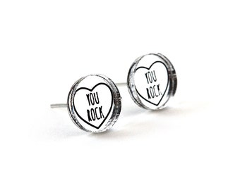 """Valentine's studs with message """"You rock"""" - romantic graphic earrings - lasercut acrylic mirror - hypoallergenic surgical steel posts"""