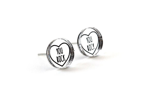 "Valentine's studs with message ""You rock"" - romantic graphic earrings - lasercut acrylic mirror - hypoallergenic surgical steel posts"