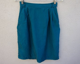 80s 90s Teal Silk Skirt, Knee Length Skirt, High Waist Skirt, High Waisted Skirt, Teal Skirt, 90s Clothing, Green Conservative