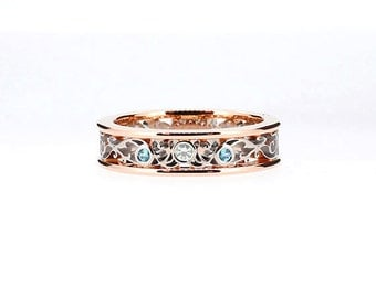rose and white gold filigree ring with blue and white diamonds, diamond engagement ring, filigree wedding band, two tone, light blue, unique