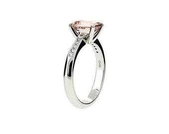 Morganite engagement ring, White Gold, Emerald cut morganite, Solitaire, Engagement ring, Diamond, peach morganite ring, custom, unique